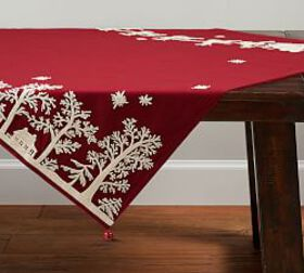 Pottery Barn Sleigh Bell Crewel Embroidered Table