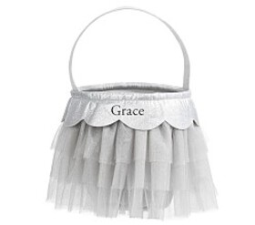 Pottery Barn Silver Metallic Tulle Treat Bag