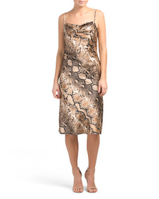 BEBE Made In USA Animal Print Satin Slip Dress