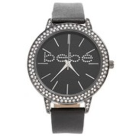 BEBE Womens Crystal Bezel Logo Watch