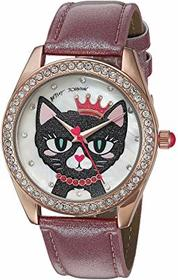 Betsey Johnson Meowing About It Glitter Band Watch