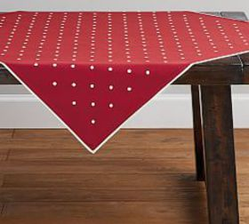 Pottery Barn Polka Dot Embroidered Red Table Throw