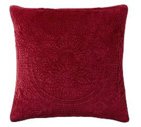 Pottery Barn Velvet Medallion Quilted Shams - Ruby