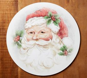 Pottery Barn Santa Round Cork Placemat