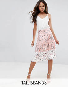 Vesper Tall Midi Skirt In Floral Print With Contra