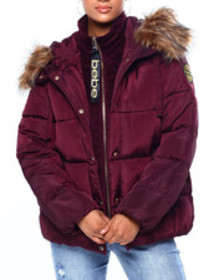 Bebe bb short puffer w/ velour rib
