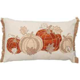 Made in India Four Pumpkin 3D Leaves Throw Pillow