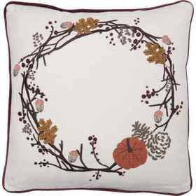 Villa by Classic Home Ivory Harvest Wreath Throw P