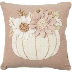 Made in India Pumpkin with Sunflower Throw Pillow