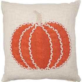 """Made in India Knit Pumpkin Throw Pillow - 20x20"""" i"""