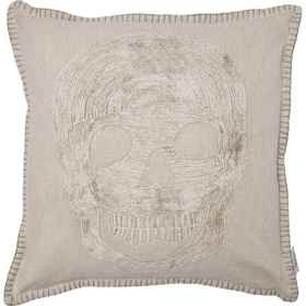 Made in India Washed Single Skull Throw Pillow - 2