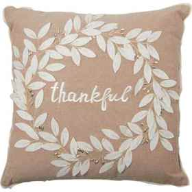Made in India Thankful Leaves Wreath Throw Pillow