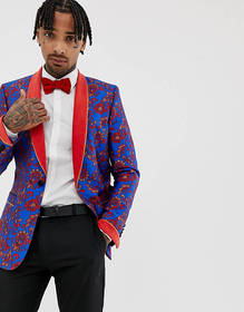 ASOS EDITION skinny blazer in blue and red floral