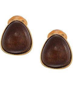 Kenneth Jay Lane Gold with Natural Wood Cabochon N
