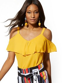 Petite Ruffle Cold-Shoulder Top - New York & Compa