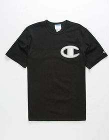 CHAMPION Floss Stitch C Logo Black Mens T-Shirt_