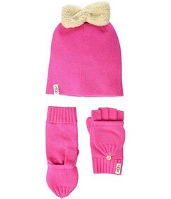 UGG Kids Knit Hat with Bow and Flip Mitt Gift Set