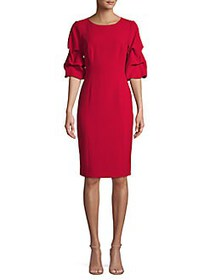 Donna Karan Ruched-Sleeve Knee-Length Dress RED