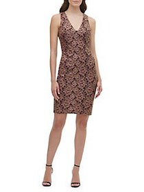 Guess Floral Lace Dress WINE GOLD