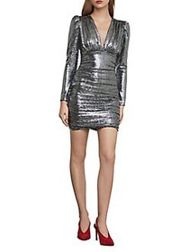 BCBGMAXAZRIA Ruched Metallic Mini Dress SILVER