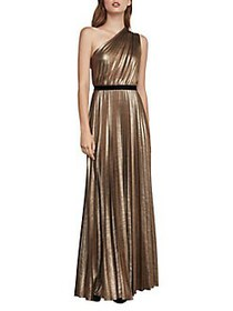 BCBGMAXAZRIA Pleated One-Shoulder Gown GOLD