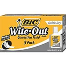 BIC Wite-Out Correction Fluid, White, 3/Pack (5060