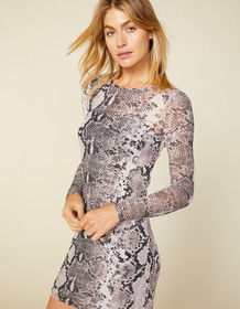 WEST OF MELROSE Snake Up Your Mind Mesh Bodycon Dr