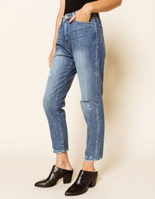 FLYING MONKEY Ankle Crop Ripped Womens Straight Le