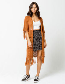SKY AND SPARROW Fringe Womens Cardigan_