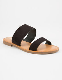 SODA Double Strap Black Womens Sandals_