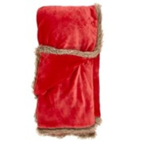 CATHERINE MALANDRINO Plush Throw Blanket With Faux