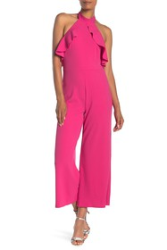 bebe Ruffled Halter Neck Jumpsuit