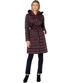 Kenneth Cole New York Matte Satin Belted Puffer w\