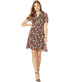 Betsey Johnson Mini Floating Roses Button Front Dr