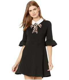 Betsey Johnson Scuba Crepe Dress with Leopard Neck