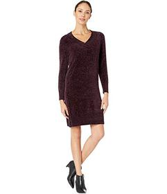 Nine West Long Sleeve V-Neck Chenille Shift Dress