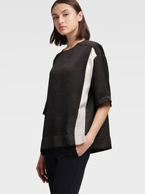 Donna Karan ELBOW SLEEVE COLORBLOCK TOP