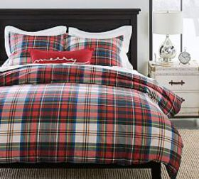 Pottery Barn Declan Plaid Organic Duvet Cover & Sh