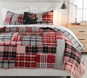 Pottery Barn Pearson Plaid Patchwork Cotton Quilt