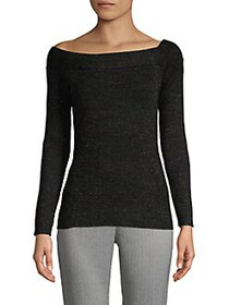 Donna Karan Metallic Asymmetrical Ballet-Neck Top