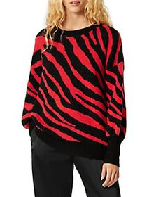 French Connection Tiger-Print Crewneck Sweater BLA