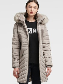 Donna Karan CONTOUR PUFFER WITH FAUX FUR HOOD