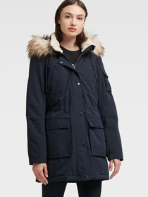Donna Karan PARKA WITH FAUX SHERPA LINED HOOD