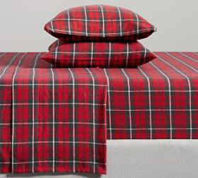 Pottery Barn Palmer Plaid Organic Flannel Sheet Se