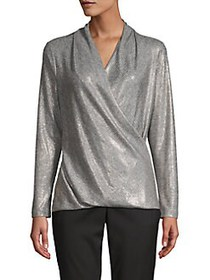 Donna Karan Metallic Draped-Front Blouse GOLD SILV