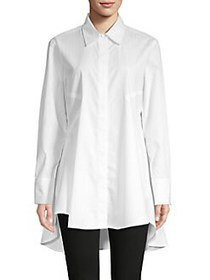 Donna Karan High-Low Cotton-Blend Tunic WHITE
