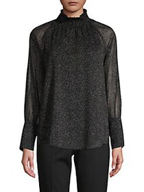 Donna Karan Printed Smocked Blouse BLACK