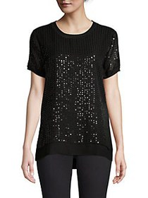 Donna Karan Sequin Short-Sleeve Tee BLACK