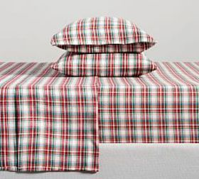 Pottery Barn Phoenix Plaid Organic Flannel Sheet S