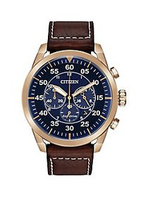Citizen Avion Rose Goldtone Stainless Steel & Leat